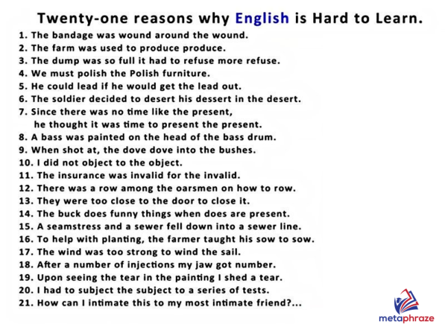 Twenty-one reasons why English is hard to learn